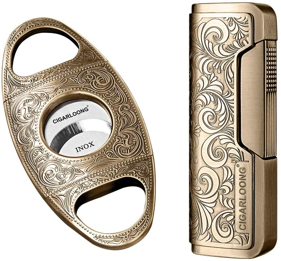 CIGARLOONG Cigar Cutter and Retro Carved Lighter